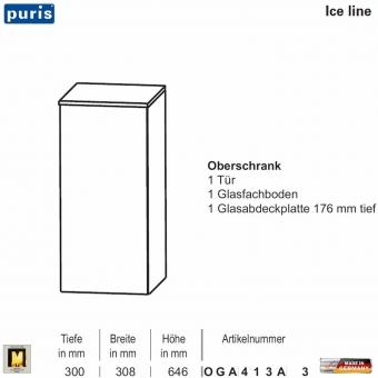 Puris ICE LINE Oberschrank 30 cm / 1 Tür - OGA413A3