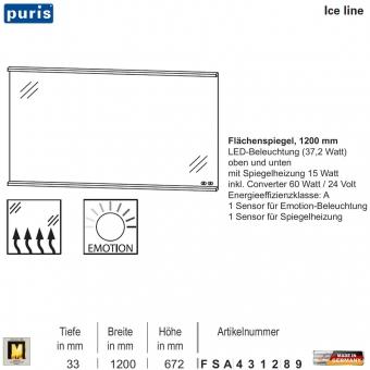 Puris ICE LINE Flächenspiegel 120 cm mit Spiegelheizung und Emotion LED - FSA431289
