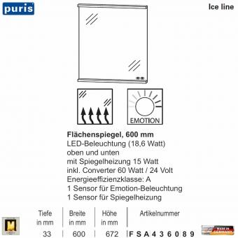 Puris ICE LINE Flächenspiegel 60 cm mit Spiegelheizung und Emotion LED - FSA436089