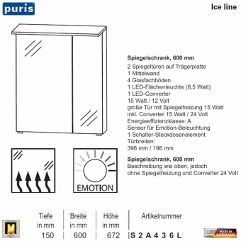 Puris ICE LINE Spiegelschrank 60 cm mit optionaler Spiegelheizung und Emotion LED - S2A436L