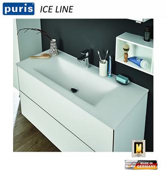 Puris ICE LINE Waschtisch-Set 90 cm mit Glas-Waschtisch