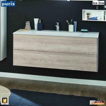 Puris ICE LINE Waschtisch-Set 120 cm mit Glas-Waschtisch