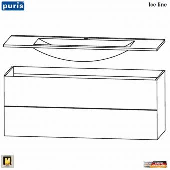 Puris ICE LINE Waschtisch-Set 120 cm mit Mineralmarmor