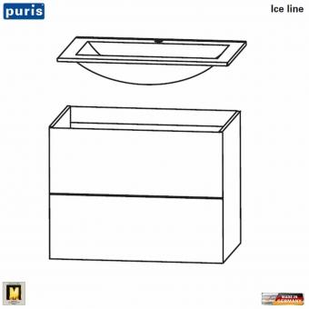 Puris ICE LINE Waschtisch-Set 60 cm mit Mineralmarmor