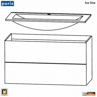 Puris ICE LINE Waschtisch-Set 90 cm mit Mineralmarmor