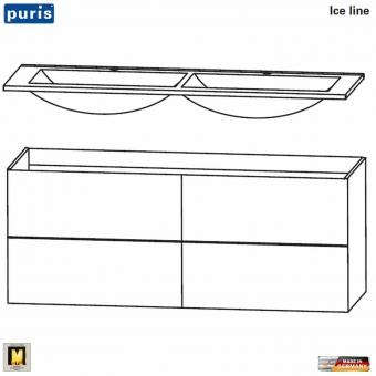 Puris ICE LINE Doppel-Waschtisch-Set 120 cm mit Mineralmarmor-Waschtisch