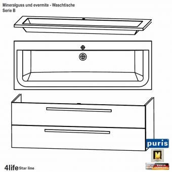 Puris Star Line Badmöbel als Waschtisch Set 140 cm - Serie B evermite