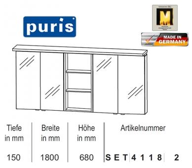 puris 4life swing spiegelschrank mit regal 180 cm impulsbad. Black Bedroom Furniture Sets. Home Design Ideas
