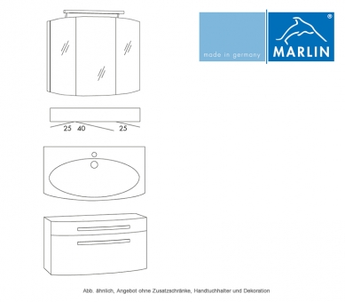 Marlin Badmöbel als Set Scala mit Spiegelschrank 90 cm