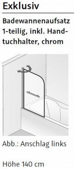 hsk exclusiv badewanennaufsatz inkl handtuchhalter 1 teilig 75 cm breite 140 cm h he. Black Bedroom Furniture Sets. Home Design Ideas