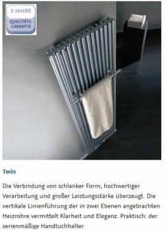 hsk twin heizk rper mit handtuchhalter 600 x 1800 mm weiss impulsbad. Black Bedroom Furniture Sets. Home Design Ideas