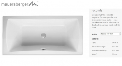 mauersberger badewanne ovata 210 x 90 cm sechseck acryl 6 eck impulsbad. Black Bedroom Furniture Sets. Home Design Ideas