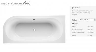 Mauersberger Badewanne Primo 3 180 X 80 Cm Acryl Oval Impulsbad
