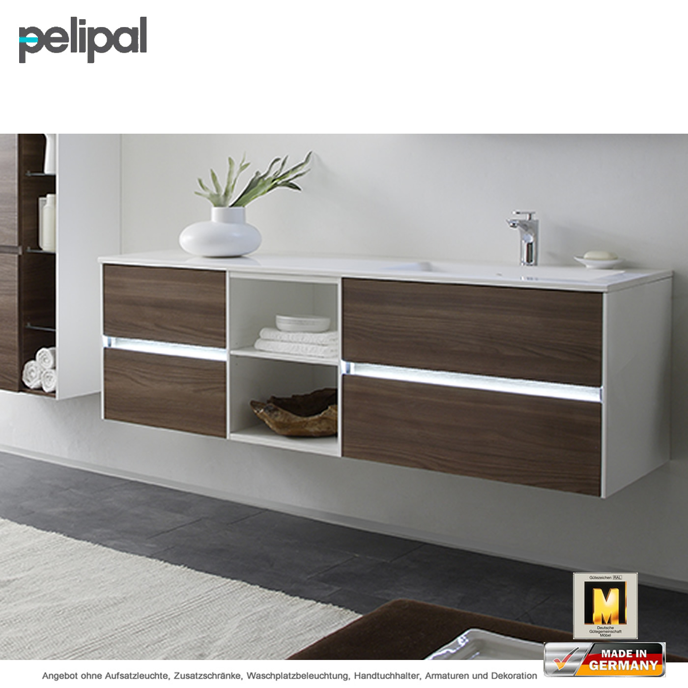 pelipal solitaire 6010 waschtischset 168 cm mit 4 ausz gen und regal im unterschrank impulsbad. Black Bedroom Furniture Sets. Home Design Ideas