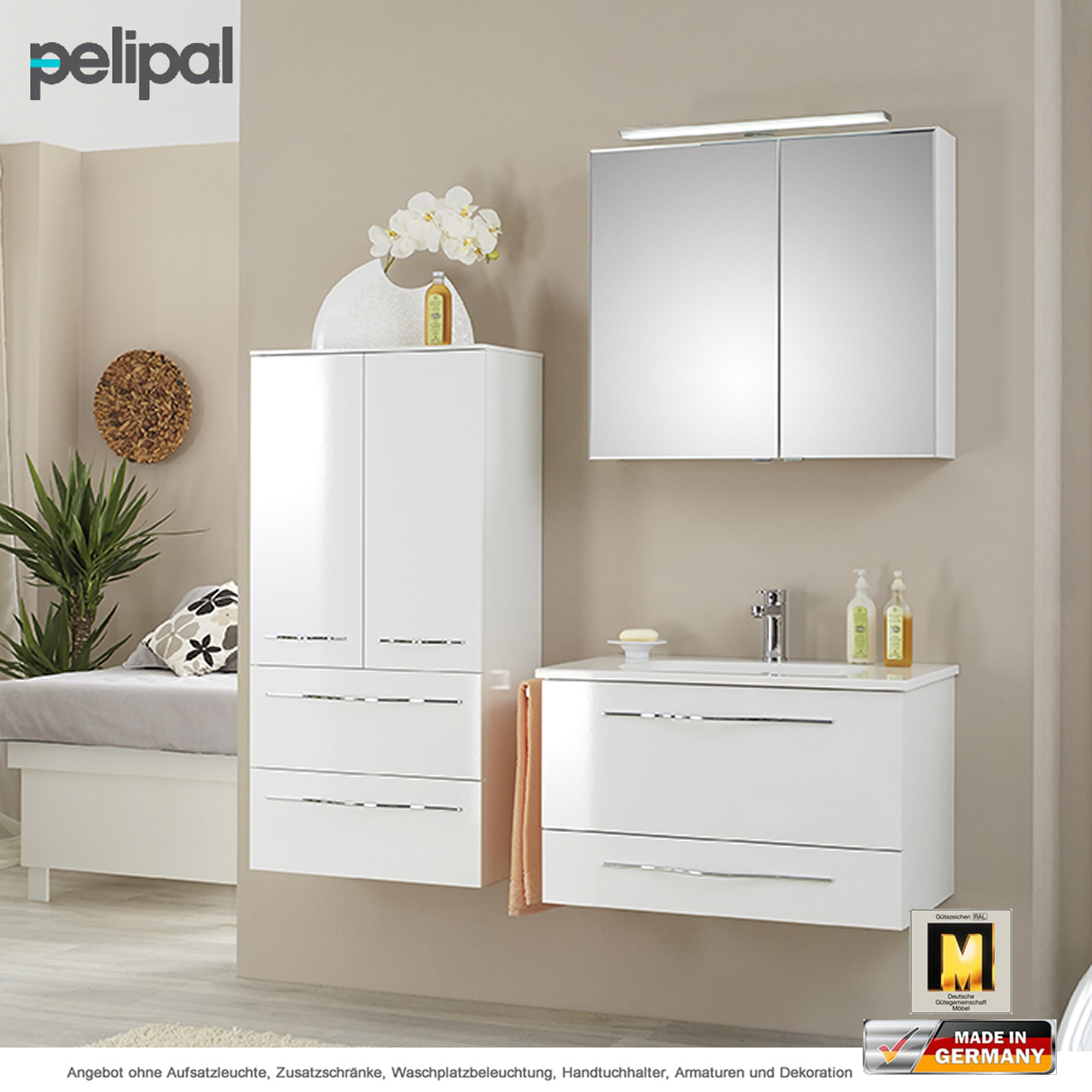 pelipal badm bel solitaire 6110 als set 80 cm mit spiegelschrank inkl ledplus aufsatzleuchte. Black Bedroom Furniture Sets. Home Design Ideas
