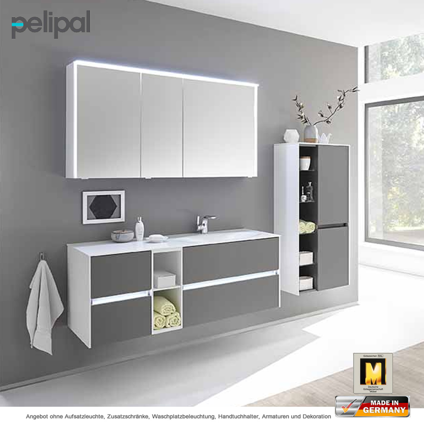pelipal solitaire 6010 badm belset 133 cm mit spiegelschrank waschtisch und unterschrank 4. Black Bedroom Furniture Sets. Home Design Ideas