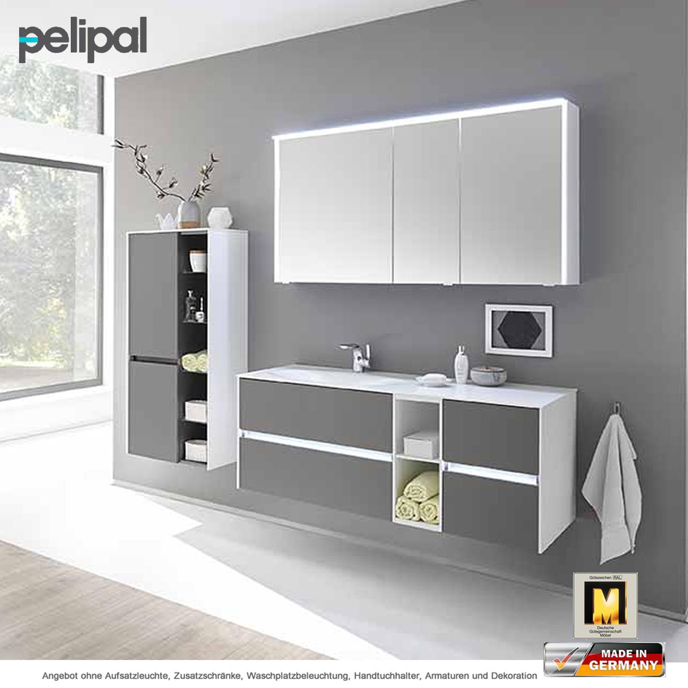 Pelipal Solitaire 6010 Badmöbelset 133 Cm Mit Spiegelschrank Waschtisch Und  Unterschrank 4 Auszüge