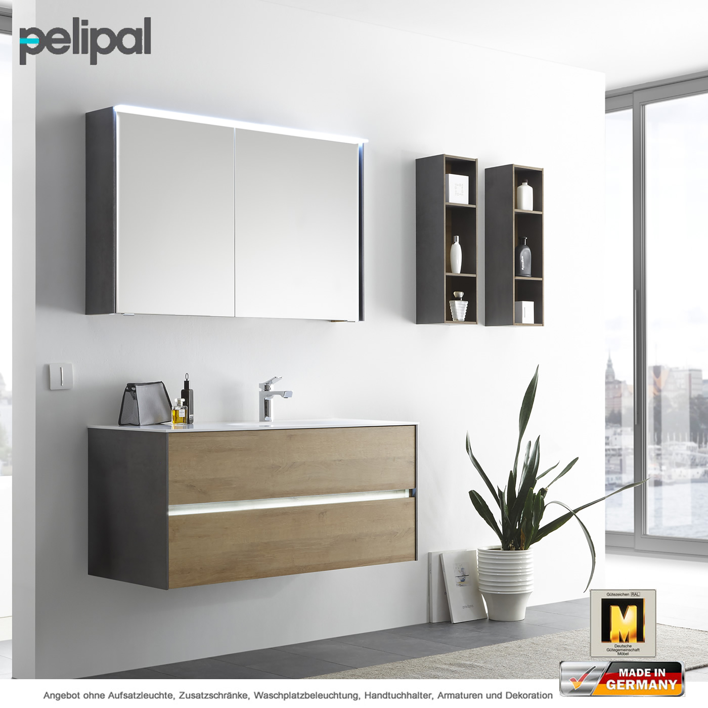 pelipal solitaire 6010 badm belset 113 cm mit led spiegelschrank und waschtischset 2 ausz ge. Black Bedroom Furniture Sets. Home Design Ideas