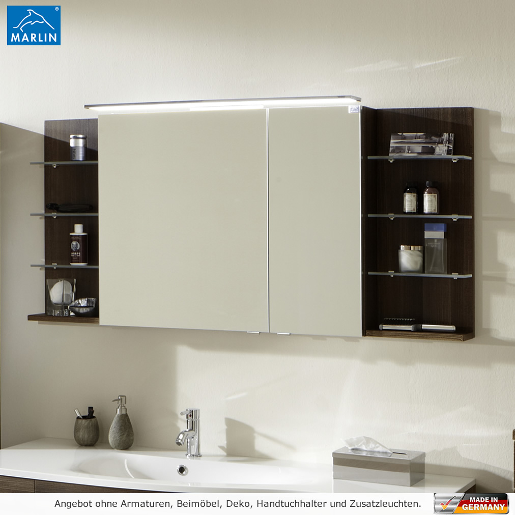 marlin 3160 motion spiegelschrank 150 cm mit regalen links. Black Bedroom Furniture Sets. Home Design Ideas