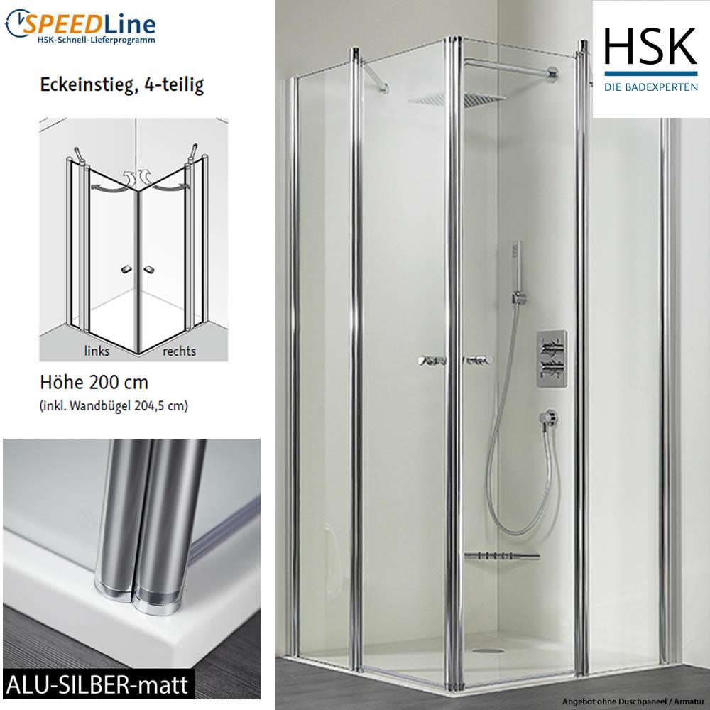 hsk dusche aus glas eckeinstieg 90x90x200 cm 4 teilig impulsbad. Black Bedroom Furniture Sets. Home Design Ideas