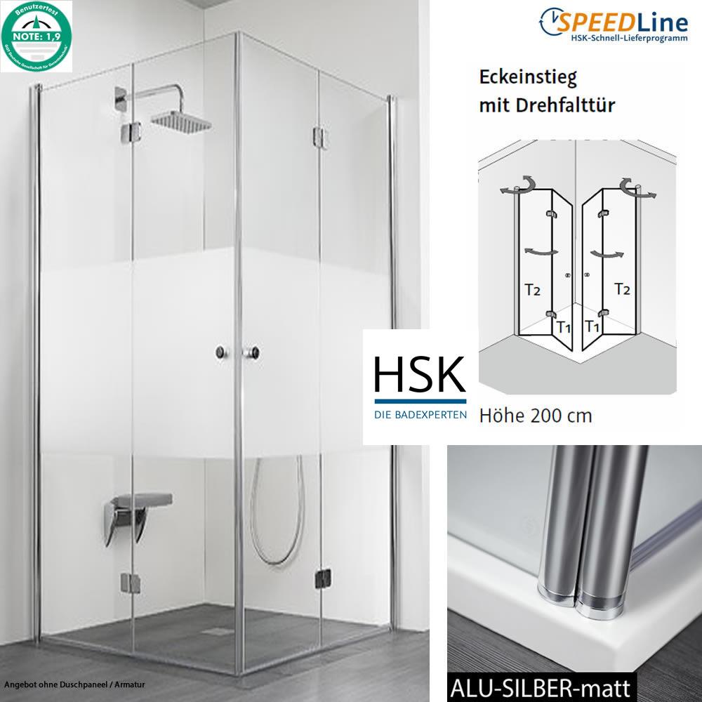 hsk dusche aus glas eckeinstieg 90x90x200 cm drehfaltt ren impulsbad. Black Bedroom Furniture Sets. Home Design Ideas