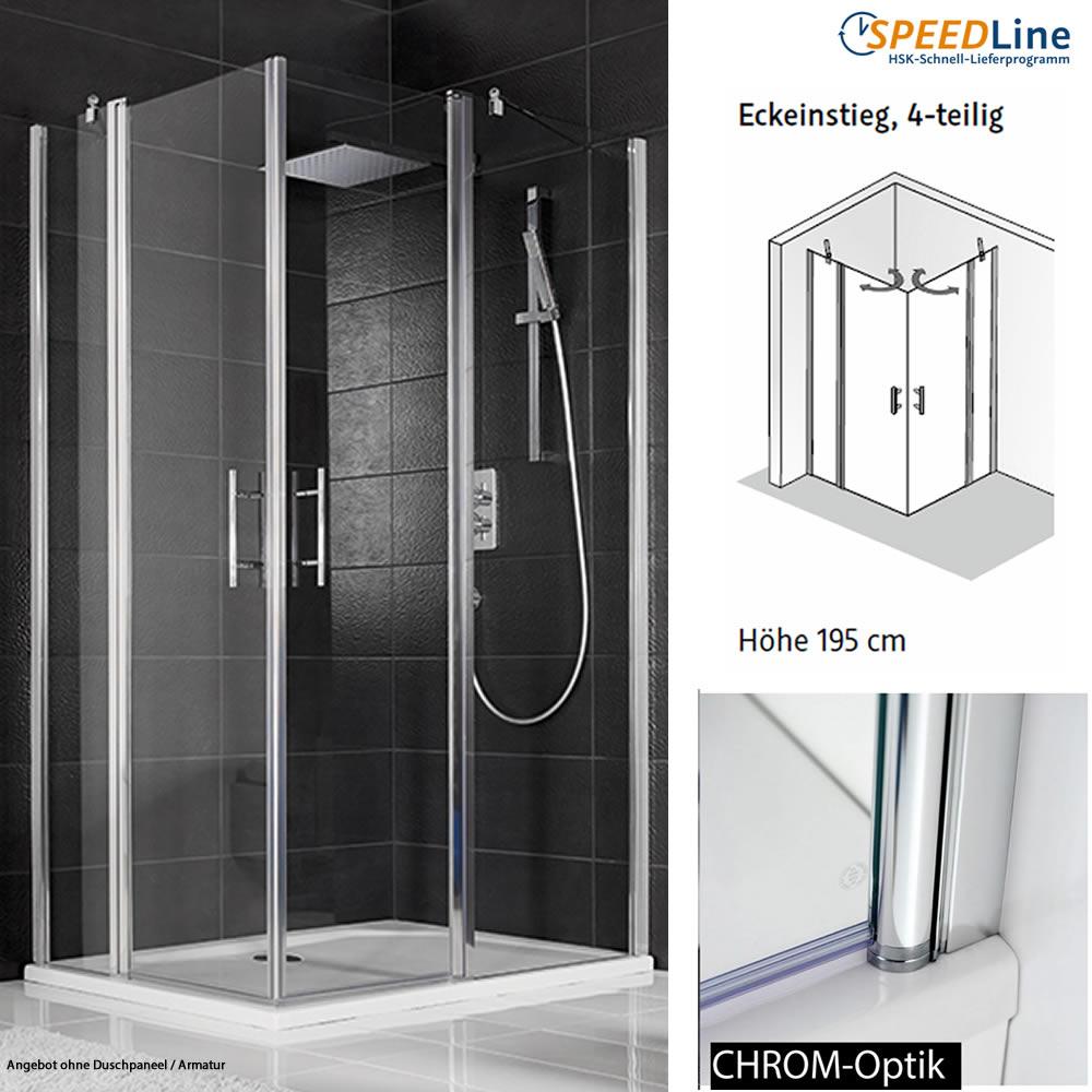 hsk dusche aus glas eckeinstieg 80x80x195 cm 4. Black Bedroom Furniture Sets. Home Design Ideas