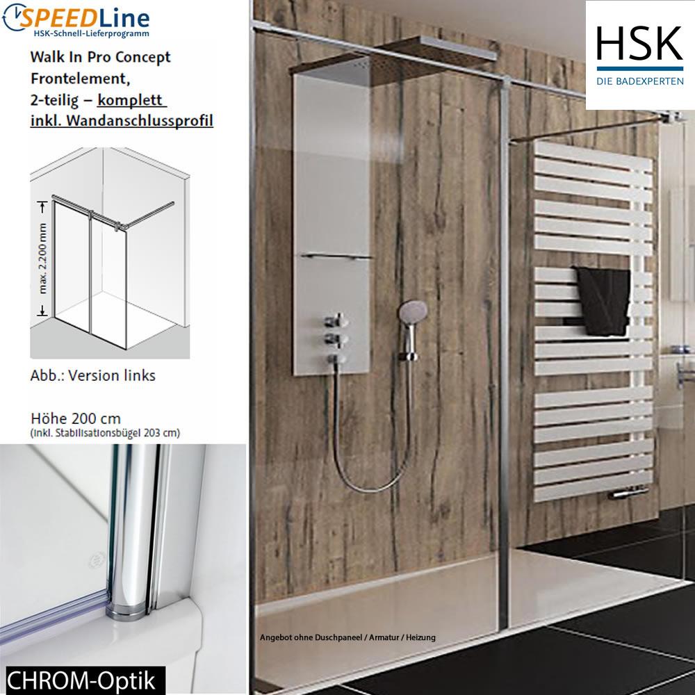 hsk walk in pro concept 140x200 cm 2 teilig anschlag. Black Bedroom Furniture Sets. Home Design Ideas