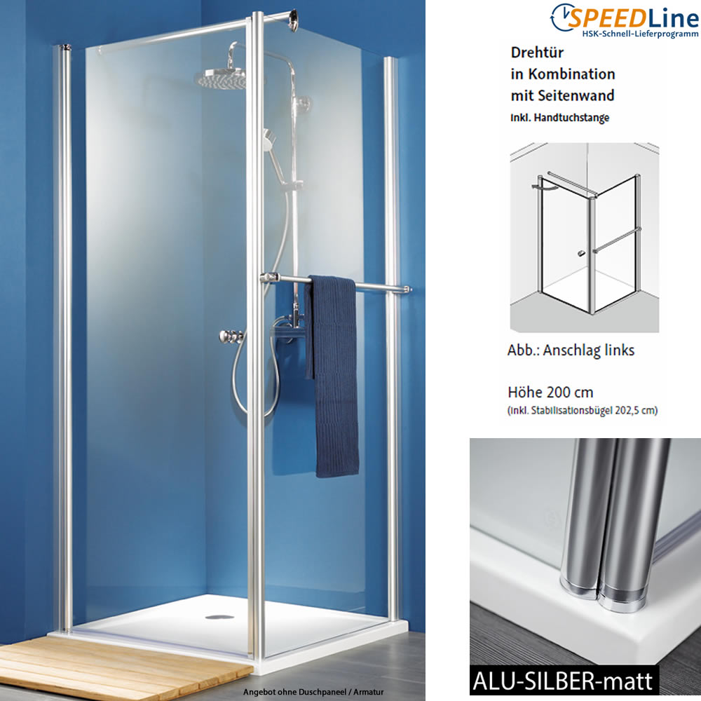 hsk exklusiv dusche aus glas dreht r mit seitenwand 90x90x200 cm 2 teilig anschlag links. Black Bedroom Furniture Sets. Home Design Ideas