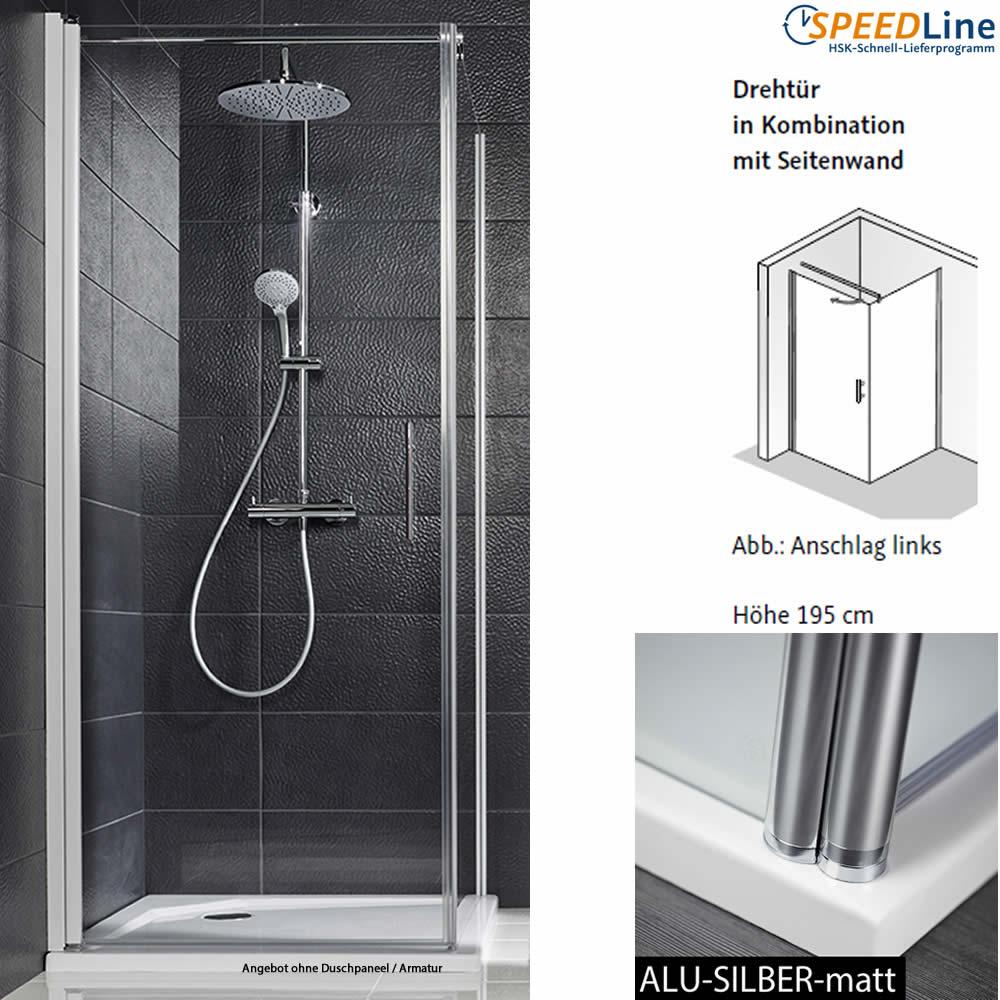 hsk favorit nova dusche aus glas dreht r mit seitenwand 100x100x195 cm 2 teilig anschlag. Black Bedroom Furniture Sets. Home Design Ideas