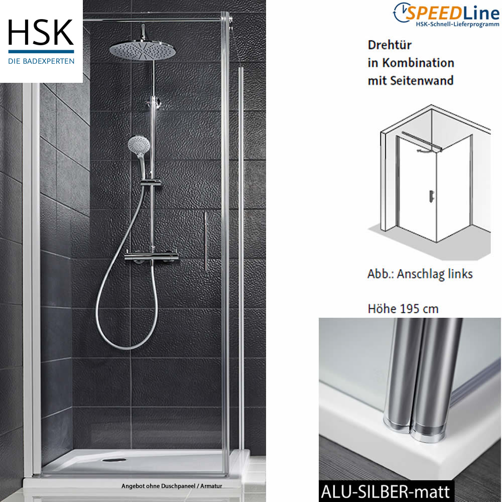 HSK Favorit Nova Dusche aus Glas / Drehtür mit Seitenwand ...