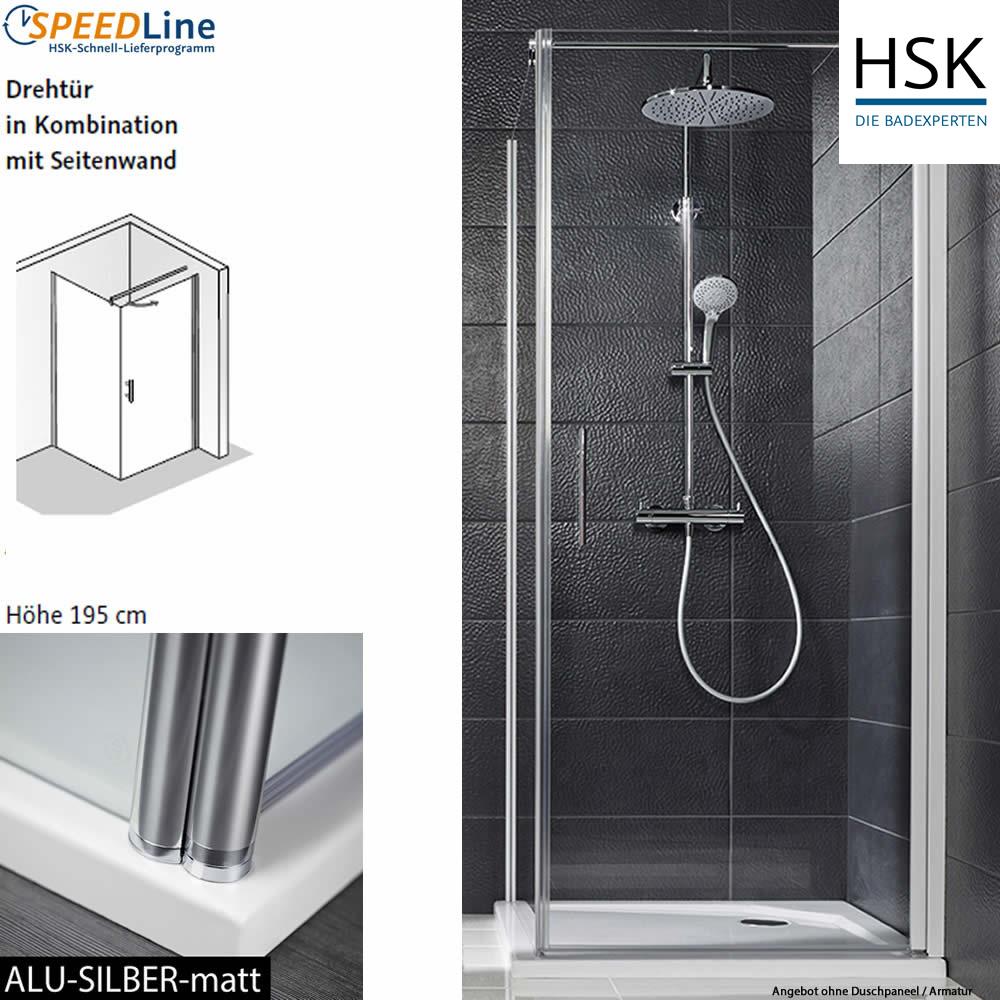HSK Favorit Nova Dusche aus Glas / Drehtür mit Seitenwand - 90x90x195 cm -  2-teilig - Anschlag rechts