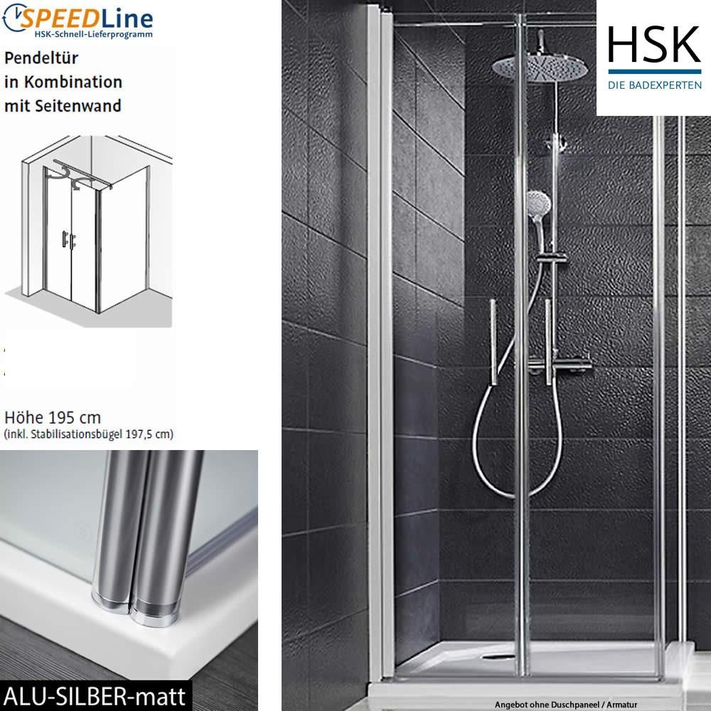 HSK Favorit Nova Dusche aus Glas / Pendeltüren mit Seitenwand ...