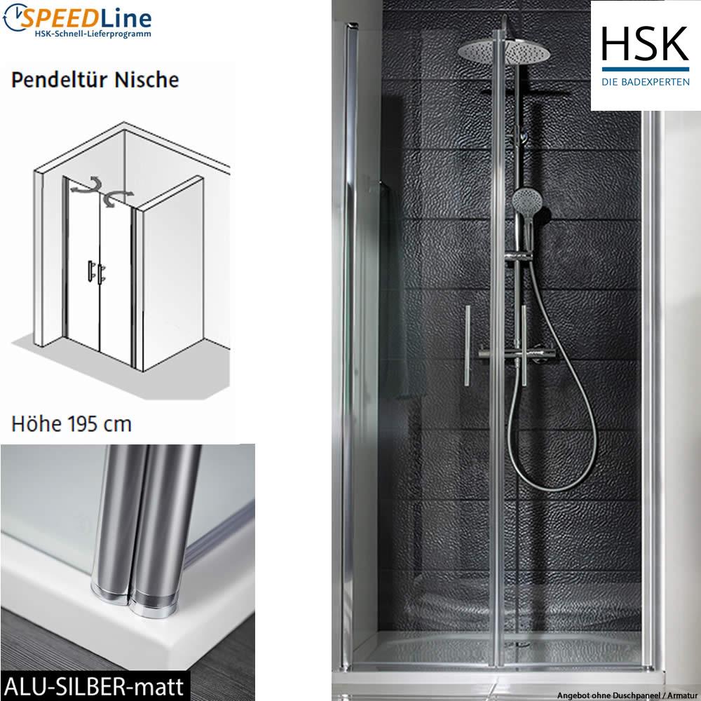 hsk dusche aus glas nischenl sung mit pendelt ren 80x195 cm 2 teilig impulsbad. Black Bedroom Furniture Sets. Home Design Ideas