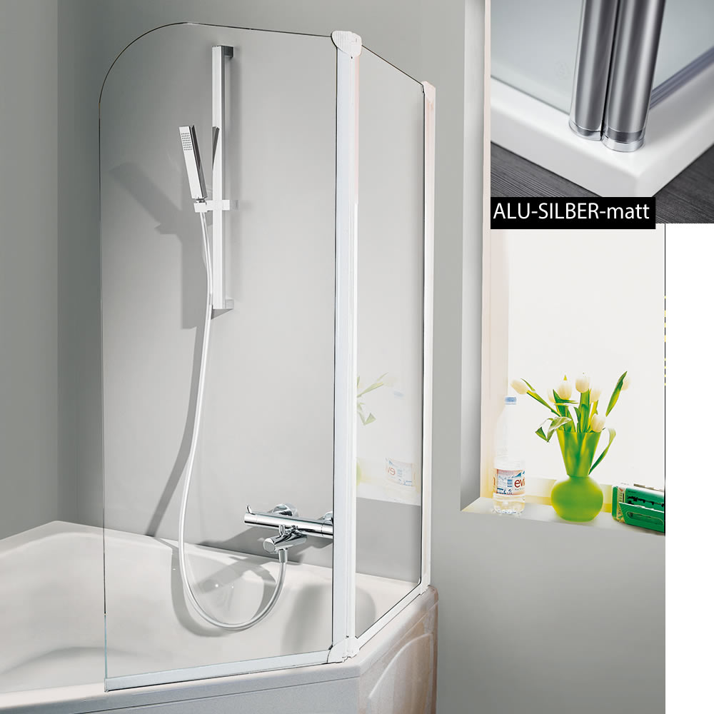 hsk favorit badewanennaufsatz 2 teilig 110 cm breite 140 cm h he variante rechts alu. Black Bedroom Furniture Sets. Home Design Ideas