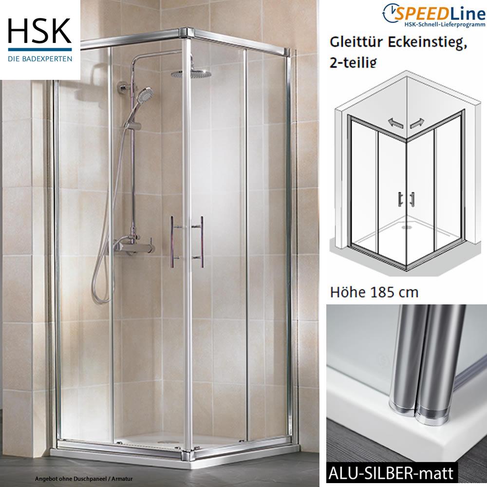 hsk favorit dusche aus glas gleitt r eckeinstieg 90x90x185 cm impulsbad. Black Bedroom Furniture Sets. Home Design Ideas