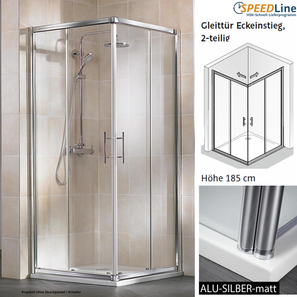 hsk favorit dusche aus glas gleitt r eckeinstieg 80x80x185 cm impulsbad. Black Bedroom Furniture Sets. Home Design Ideas