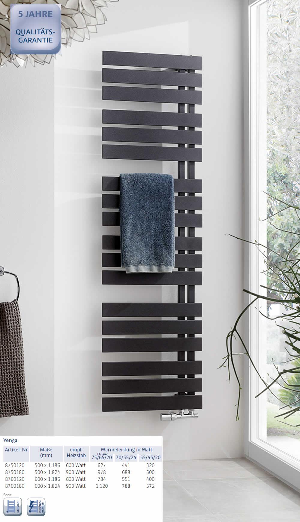 HSK YENGA Heizkörper - 600 x 1824 mm - graphit-schwarz   Impulsbad