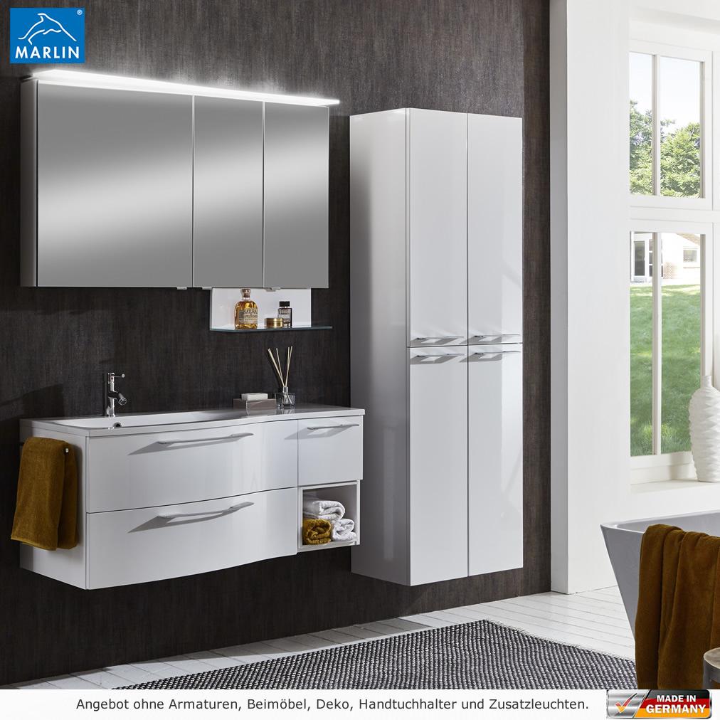 marlin badm bel als set motion 120 cm mit led spiegelschrank und einschubregal impulsbad. Black Bedroom Furniture Sets. Home Design Ideas