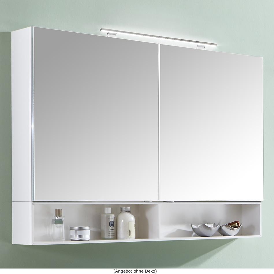 Marlin 3110 Spiegelschrank 120 cm mit 2 Türen und Aufsatzleuchte
