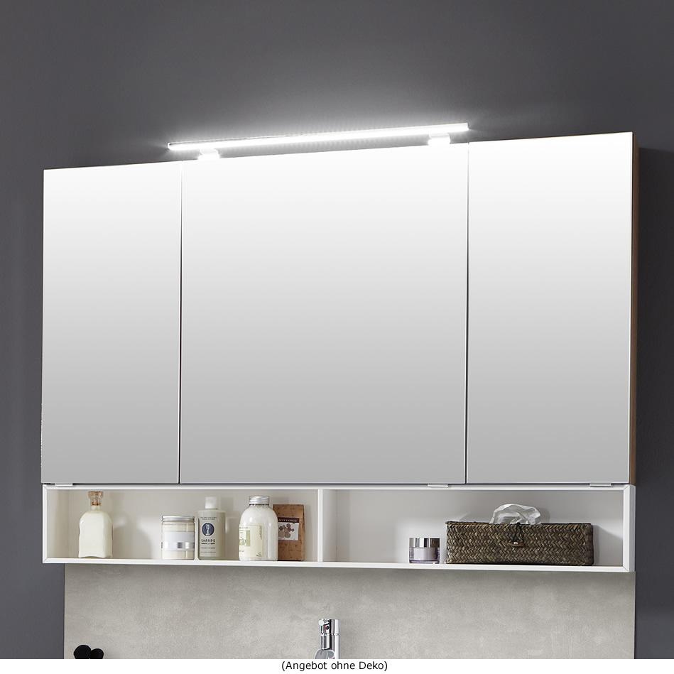 Marlin 3110 Spiegelschrank 120 cm mit 3 Türen und Aufsatzleuchte