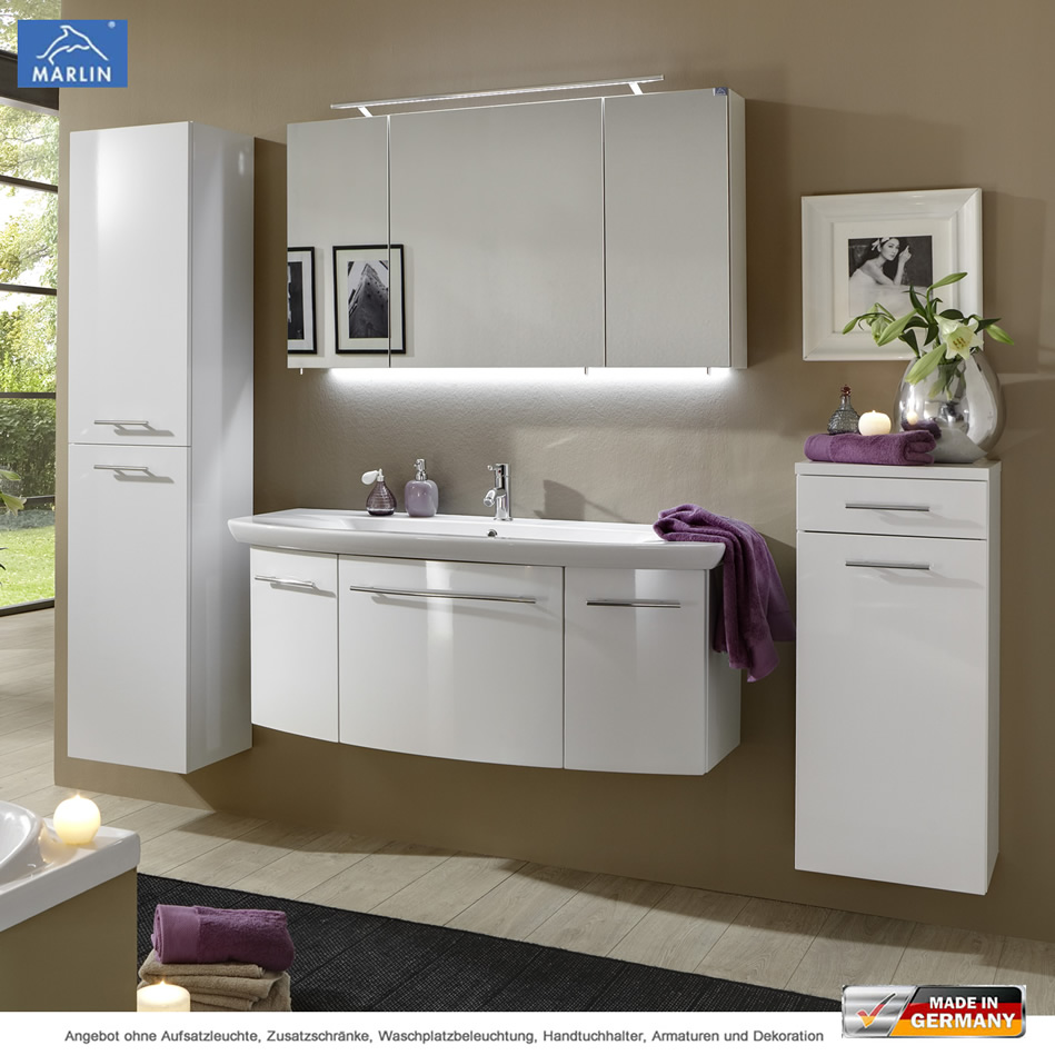 Marlin 3040 City Plus Badmöbel als Set 120 cm mit Spiegelschrank und ...