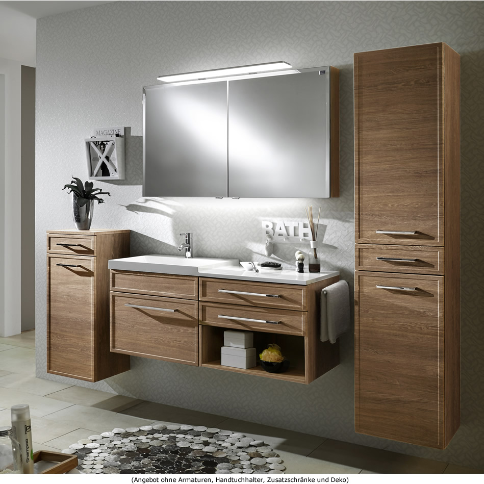 marlin badm bel als set loop mit spiegelschrank und waschtischunterschrank mit regal 120 cm. Black Bedroom Furniture Sets. Home Design Ideas