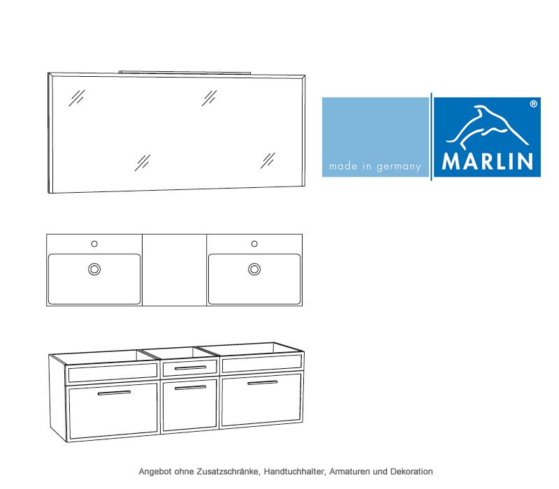 marlin badm bel als set loop mit spiegelpaneel und doppelwaschtisch 160 cm impulsbad. Black Bedroom Furniture Sets. Home Design Ideas