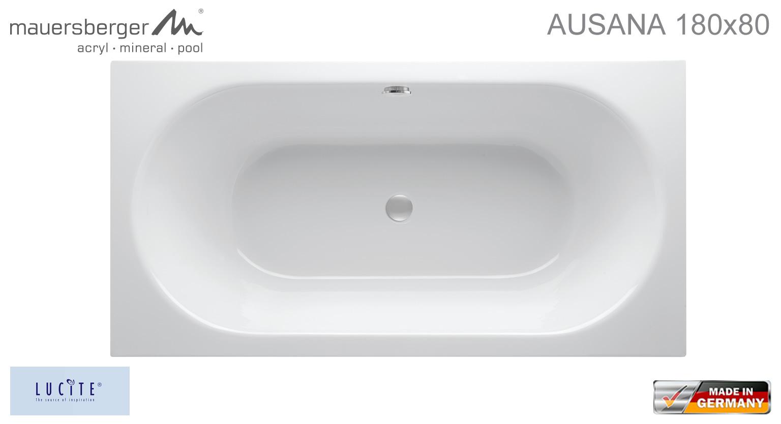 mauersberger badewanne ausana 180 x 80 cm rechteck acryl impulsbad. Black Bedroom Furniture Sets. Home Design Ideas