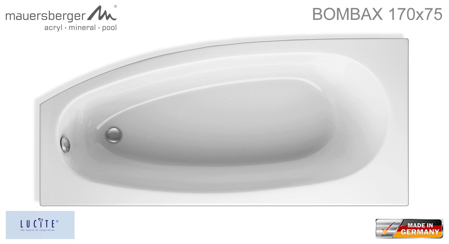 Mauersberger badewanne bombax 170 x 75 cm acryl for Asymmetrische badewanne 170