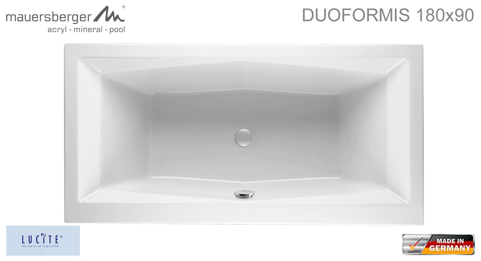mauersberger badewanne duoformis 180 x 90 cm rechteck acryl badewanne impulsbad. Black Bedroom Furniture Sets. Home Design Ideas