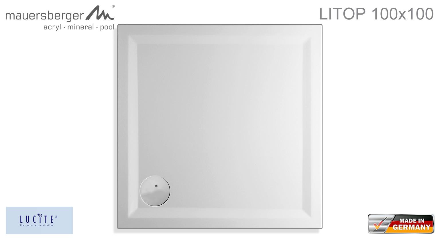 mauersberger duschwanne litop 100 x 100 cm superflach. Black Bedroom Furniture Sets. Home Design Ideas