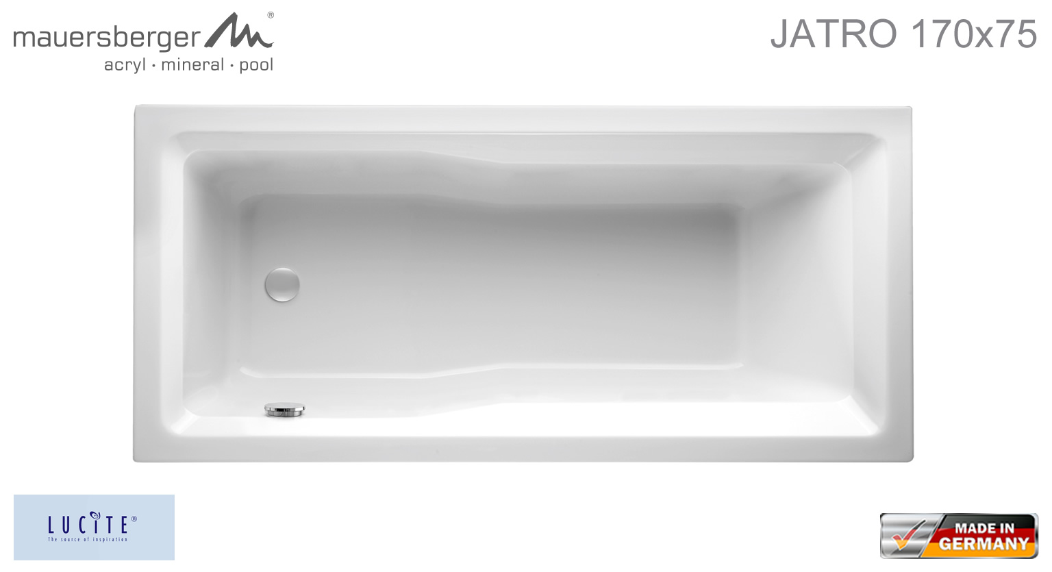 Bevorzugt Mauersberger Badewanne JATRO 170 x 75 cm - Rechteck - ACRYL WD17