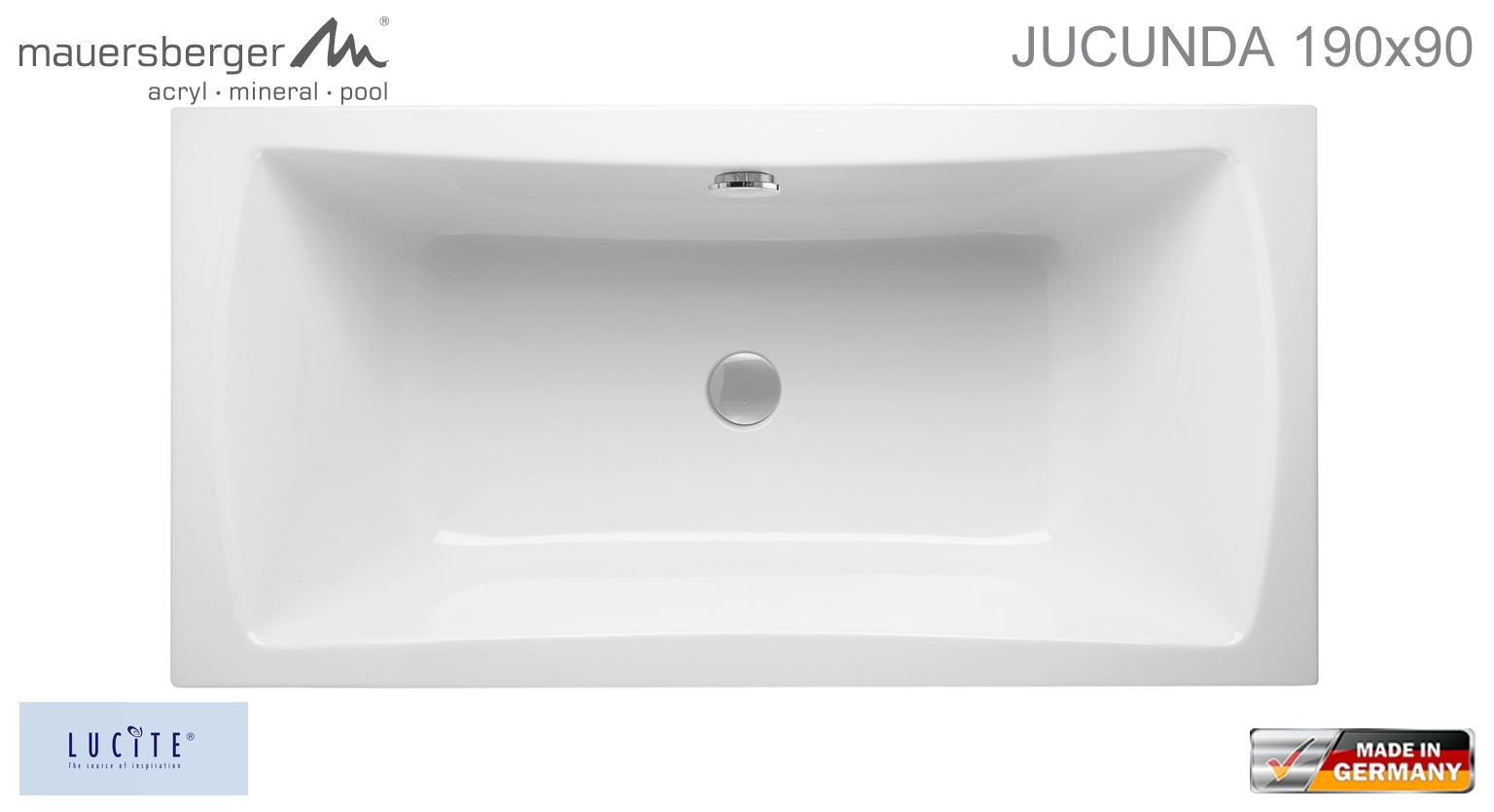 mauersberger badewanne jucunda 190 x 90 cm rechteck acryl impulsbad. Black Bedroom Furniture Sets. Home Design Ideas
