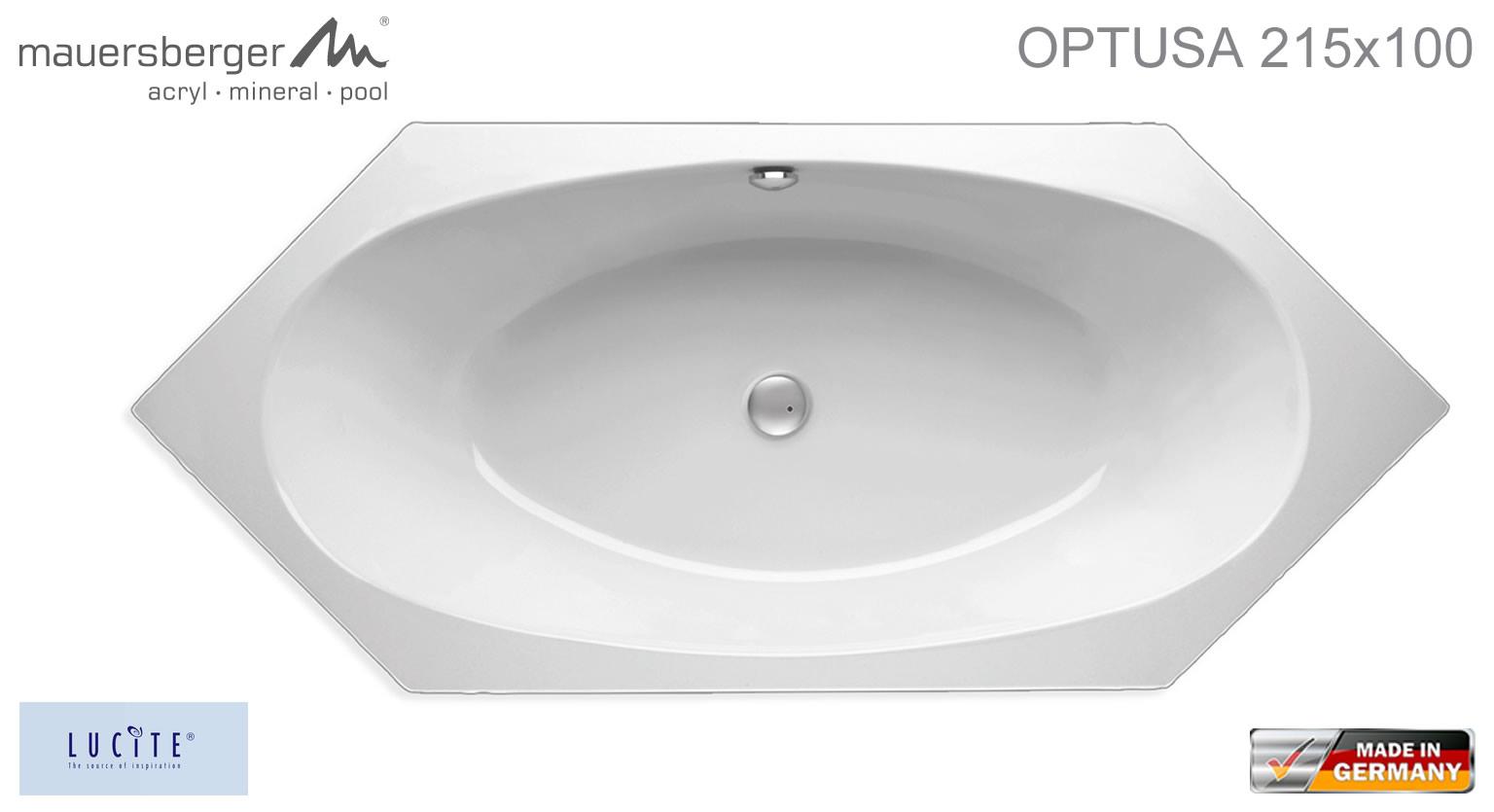 Mauersberger Badewanne OPTUSA 215 x 100 cm - Sechseck - ACRYL - 6 ... | {Sechseck badewanne maße 94}